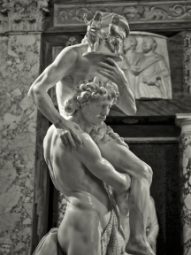 Created circa 1618-19. Housed in the Galleria Borghese in Rome, the sculpture depicts a scene from the Aeneid, where the hero Aeneas leads his family from burning Troy.