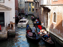 Gondolas have the right of way, but sometimes things can get a little backed up.