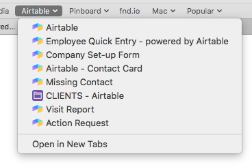 Bookmarks for forms in Safari